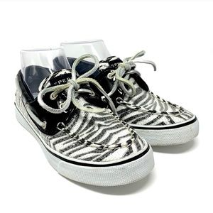 Sperry Top Sider Zebra Print Sequin Boat Shoes